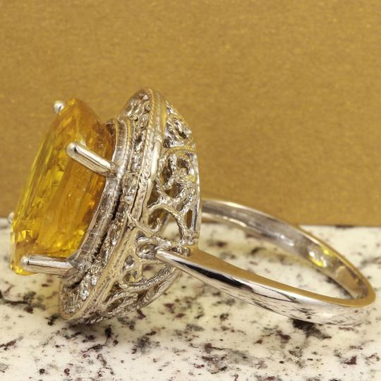 Other 10.85Ct Natural Unheated Yellow Sapphire & Diamond 14K White Gold Ring Image 2