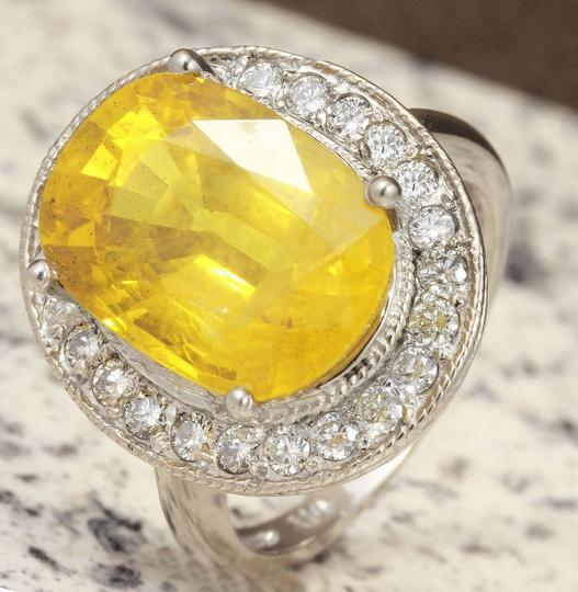 Other 10.85Ct Natural Unheated Yellow Sapphire & Diamond 14K White Gold Ring Image 4