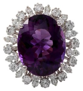 Other 15.65 Carats Natural Amethyst and Diamond 14K White Gold Ring
