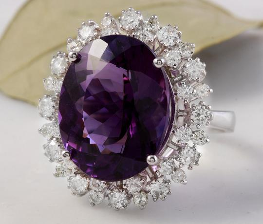 Other 15.65 Carats Natural Amethyst and Diamond 14K White Gold Ring Image 1