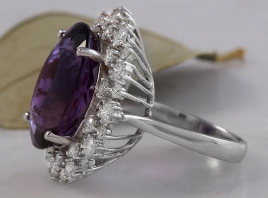 Other 15.65 Carats Natural Amethyst and Diamond 14K White Gold Ring Image 2