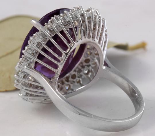 Other 15.65 Carats Natural Amethyst and Diamond 14K White Gold Ring Image 3