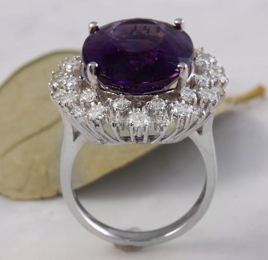 Other 15.65 Carats Natural Amethyst and Diamond 14K White Gold Ring Image 4