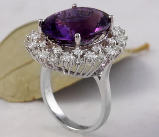 Other 15.65 Carats Natural Amethyst and Diamond 14K White Gold Ring Image 5