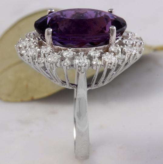 Other 15.65 Carats Natural Amethyst and Diamond 14K White Gold Ring Image 6