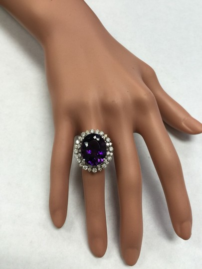 Other 15.65 Carats Natural Amethyst and Diamond 14K White Gold Ring Image 8