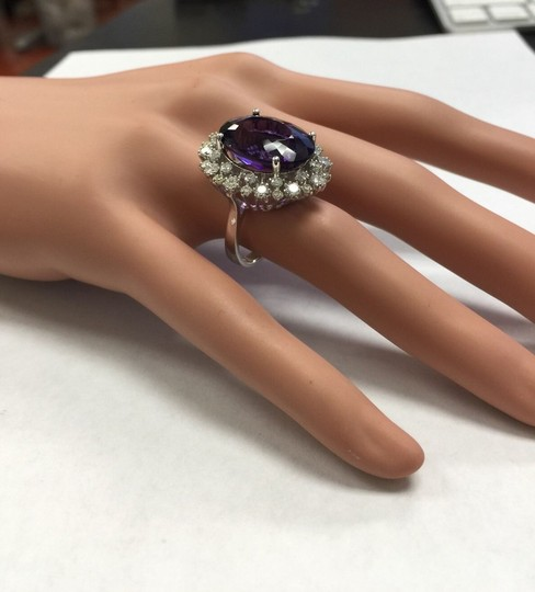 Other 15.65 Carats Natural Amethyst and Diamond 14K White Gold Ring Image 9