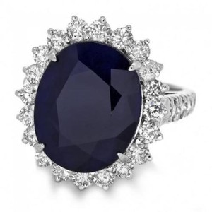 Other 13.50Ct Natural Blue Sapphire & Diamond 14K White Gold Ring