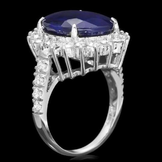 Other 13.50Ct Natural Blue Sapphire & Diamond 14K White Gold Ring Image 1