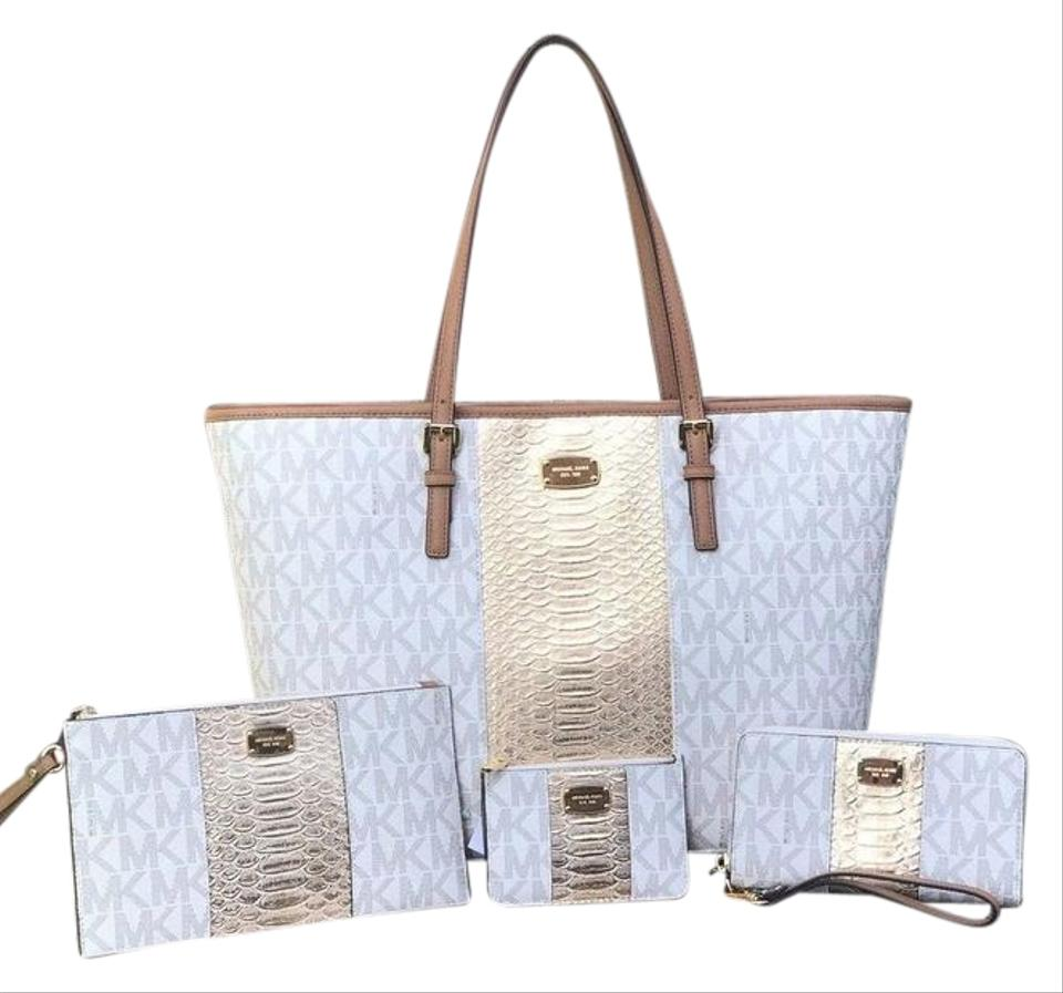 ae5d05c3172a4 Michael Kors Nwt 4 Pc Exotic Lg Wallet & Wristlet & Coin Pouch Msrp $1 298  Vanilla Tote Bag 67% off retail
