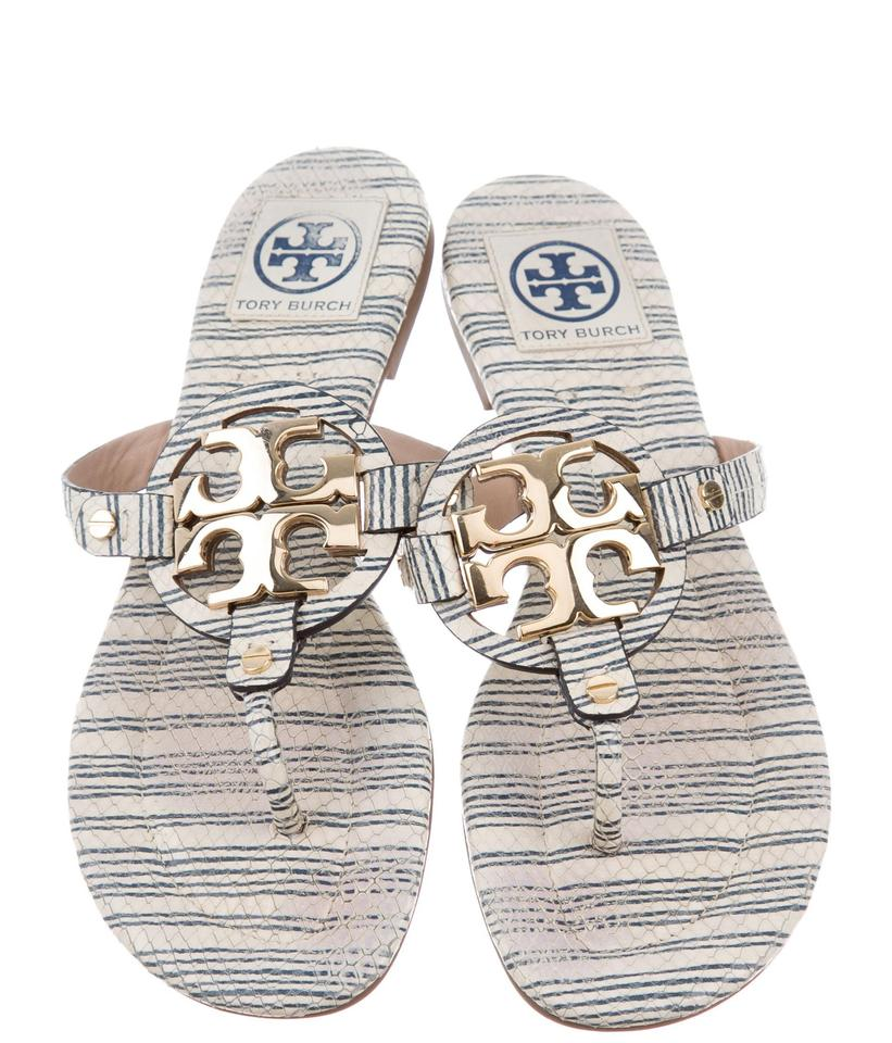 630e23c70a62b7 Tory Burch Blue White Gold Cream Navy Embossed Leather Piano Stripe ...