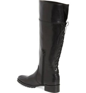 Charles David Lace Up Leather Tall Riding Black Boots