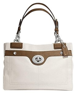 Coach Penelope Carryall Python Embossed Tote in Cream White