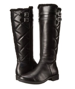 Taryn Rose Leather Quilted Faux Fur Tall Black Boots