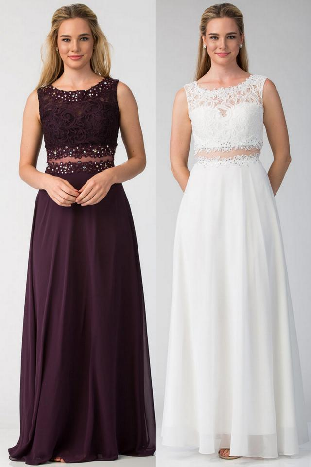 Off White Chiffon Pcs Mock Lace Floor Long Gown Formal Bridesmaid ...