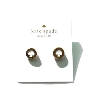 Kate Spade KATE SPADE SPOT THE SPADE STUDS EARRINGS GOLD/ WHITE W DUST BAG