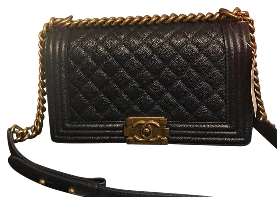 810ad4c81baf Chanel Boy Bnwt Old Medium with Aged Gold Hardware Dark Navy Caviar ...