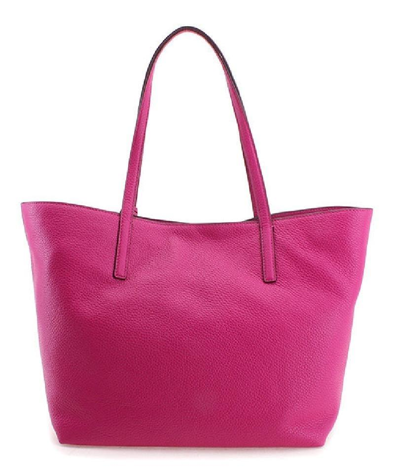 2d11080959c4 Michael Kors   Shoulder Pebbled Leather Style 30f6szyt3l Tote in Fuschia    Silver. 12345