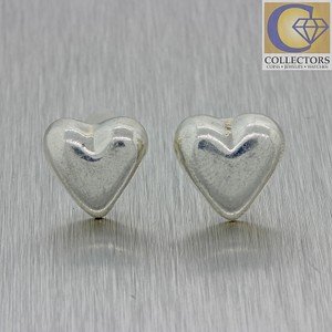 Tiffany Co Vintage Estate Sterling Silver Puffed Heart Earrings Mx