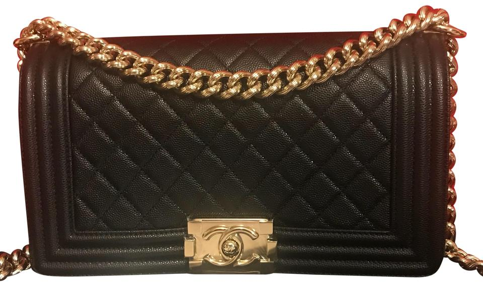 f683173c708c Chanel Boy 17p Old Medium with Shiny Gold Hardware Black Caviar ...
