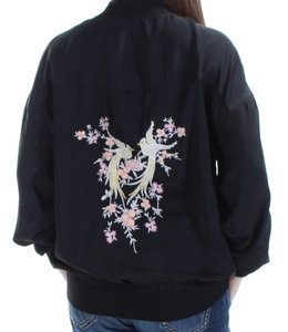 Buffalo David Bitton Embroidered Bomber Comtemporary Black Jacket