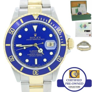 Rolex Rolex 16613 Two Tone 18k Gold Blue Dive SEL No Holes Watch B & P