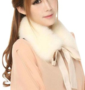 Other New Faux Fur Collar Cream Ivory lace tie