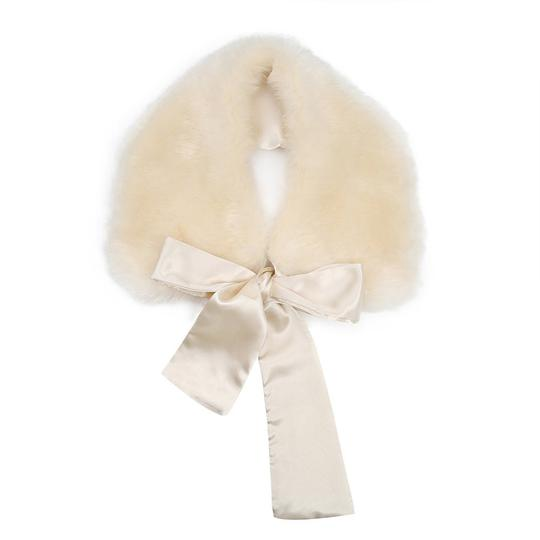 Other New Faux Fur Collar Cream Ivory lace tie Image 1