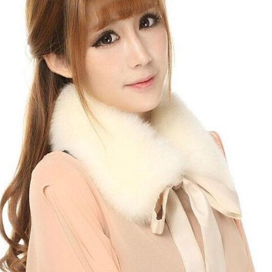 Other New Faux Fur Collar Cream Ivory lace tie Image 8