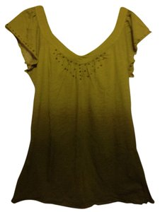 Lucky Brand 100% Cotton Brass Gold Studs T Shirt Beige & Army Green