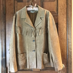 Jones New York Suede Fringe Plus-size Patch Dry Clean Tan Leather Jacket