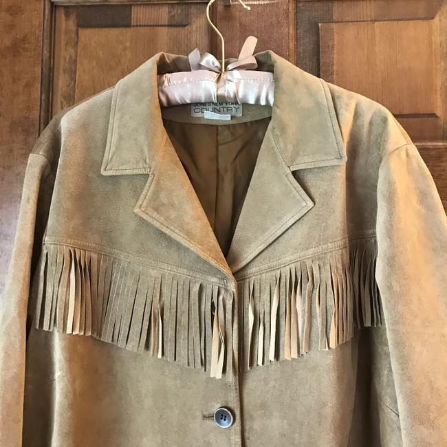 Jones New York Suede Fringe Plus-size Patch Dry Clean Tan Leather Jacket Image 1
