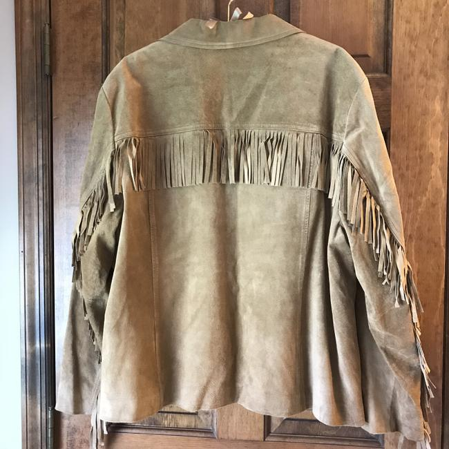 Jones New York Suede Fringe Plus-size Patch Dry Clean Tan Leather Jacket Image 4