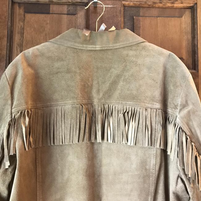 Jones New York Suede Fringe Plus-size Patch Dry Clean Tan Leather Jacket Image 5