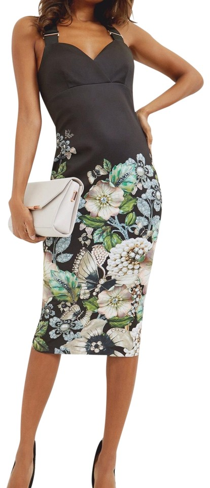 bc9712318 Ted Baker Black Jayer Gem Gardens Bodycon Night Out Dress. Size  4 (S)  Length  Mid-Length ...