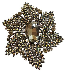 Joan Rivers Joan River Black Crystal Brooch Iridescent Rhinestones