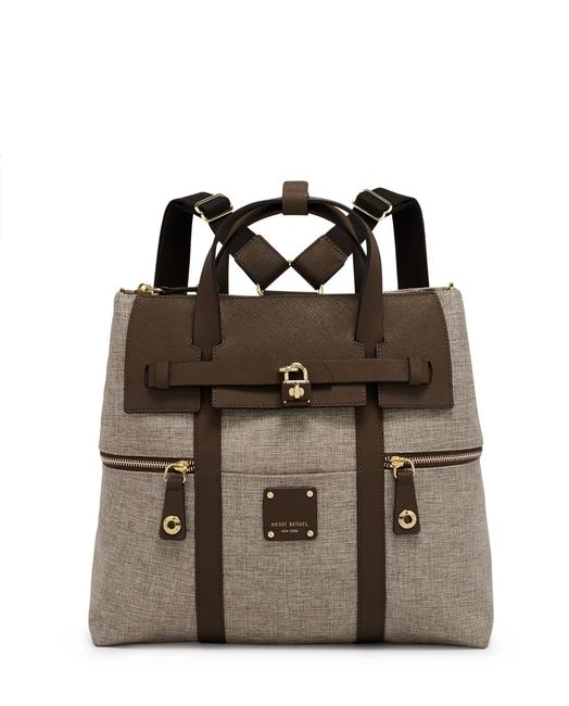 Item - ~jetsetter Large Desert Palm W/Brown Straps Canvas/Saffiano Backpack