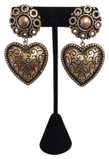 Accessory Lady Antique Silver Heart Clip Earrings