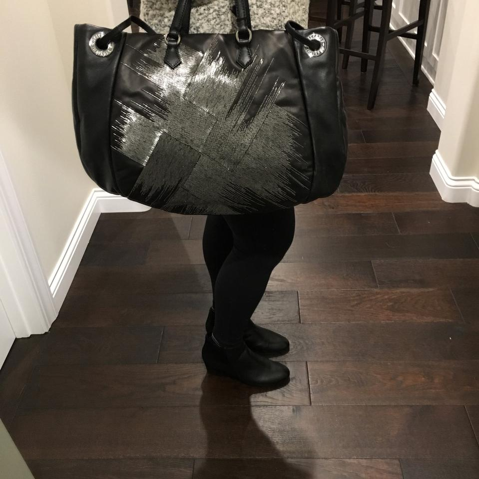 Tote Kidskin Valentino Leather Grey with Beads Black Sequin Convertible Twaqp6f