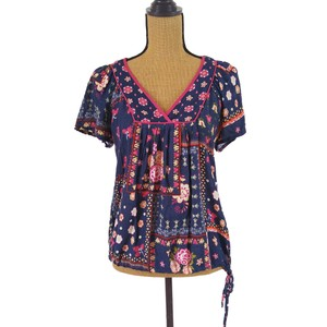 Forever 21 Floral Boho Tunic Top Blue, pink,