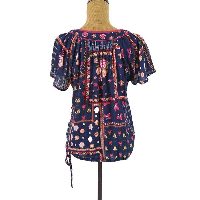 Forever 21 Floral Boho Tunic Top Blue, pink, Image 2