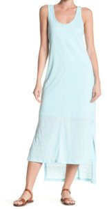 Blue Maxi Dress by H by Bordeaux Cool Viscose Lining Scoop Front Scoop Back Slub Linen Side Slits