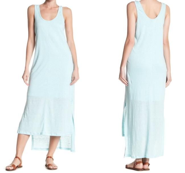 Blue Maxi Dress by H by Bordeaux Cool Viscose Lining Scoop Front Scoop Back Slub Linen Side Slits Image 1