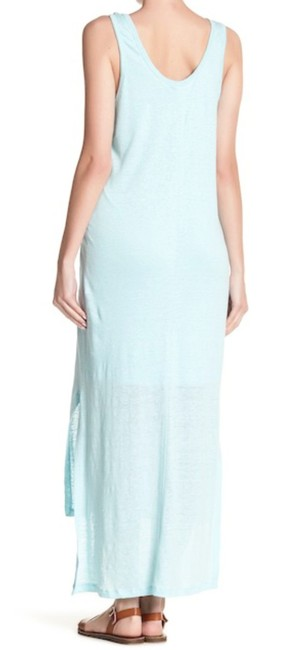 Blue Maxi Dress by H by Bordeaux Cool Viscose Lining Scoop Front Scoop Back Slub Linen Side Slits Image 2