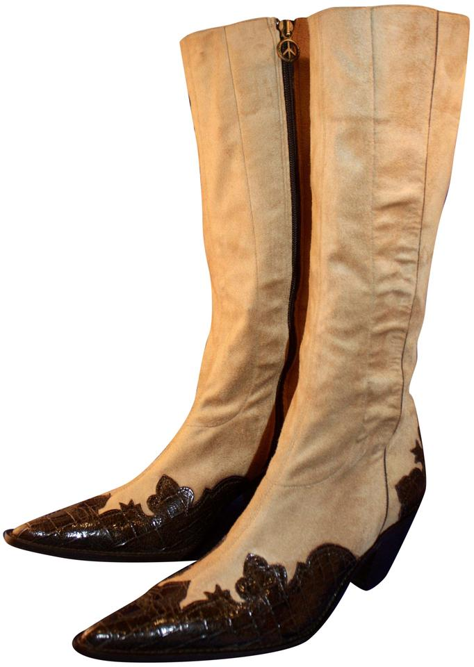 841e77a530b Donald J. Pliner Suede Western Peace Couture Alligator camel and brown Boots  Image 0 ...