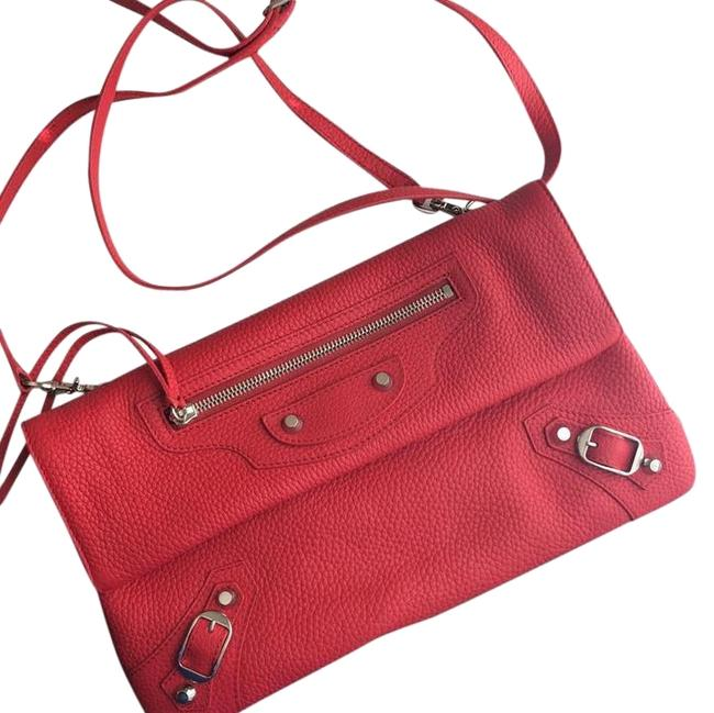 Item - Clutch Envelope Or Red Leather Cross Body Bag