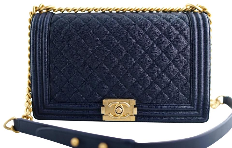 edbaaabb5e6630 Chanel Boy Le New Medium Size Quilted Blue Navy 18p Black Caviar Leather  Shoulder Bag