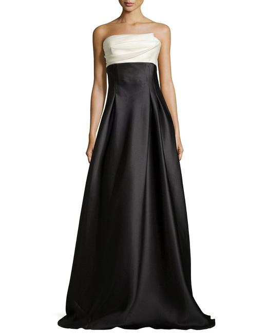 Item - Black Strapless Colorblock Charmeuse Ball Gown Long Formal Dress Size 12 (L)