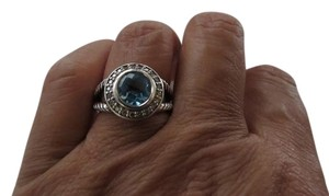David Yurman Petite Cerise Blue Topaz and Diamond Ring