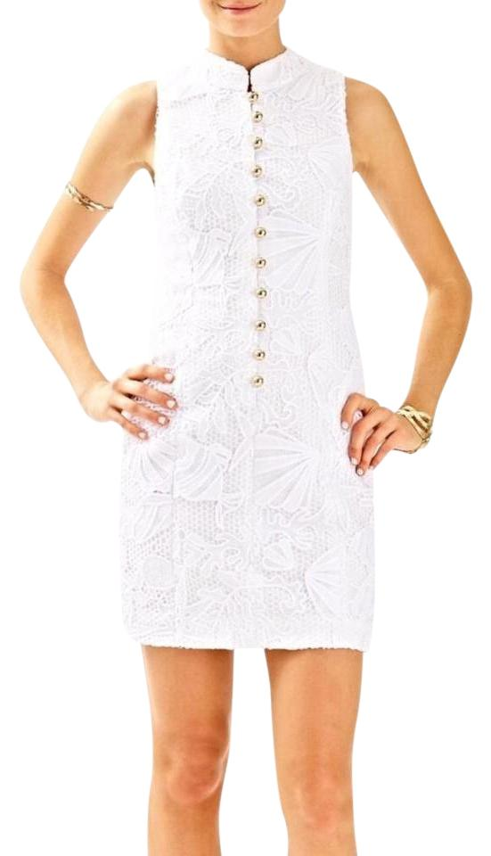 c0b9ac37e9687d Lilly Pulitzer White and Gold Alexa Shift Short Casual Dress Size 00 ...